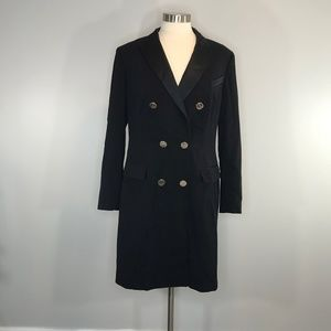 Anne Klein Black Lined Coat Dress Size 14 NWT